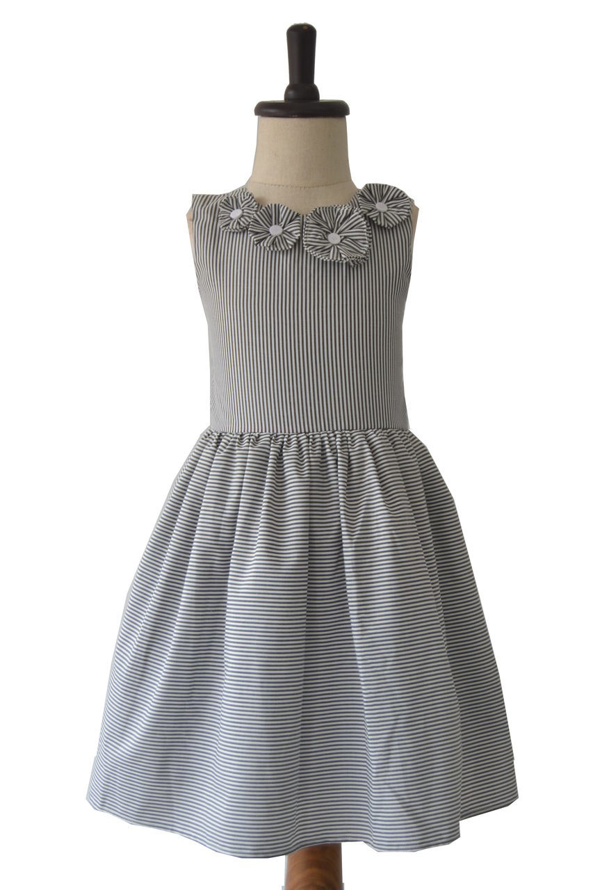 Grey & White Striped Frock with Button Centered Flowers