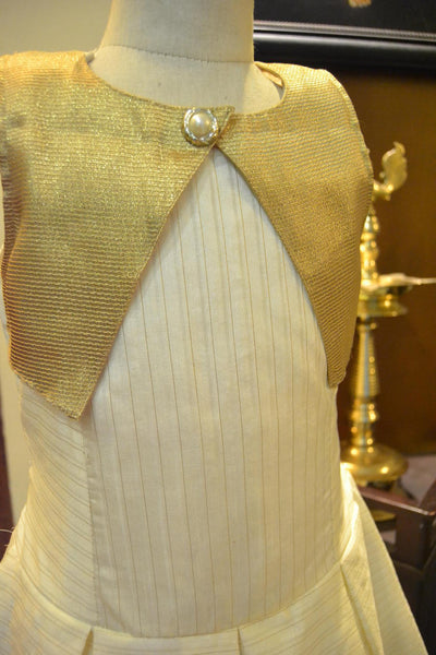 Gold White Striped Frock with Jacket