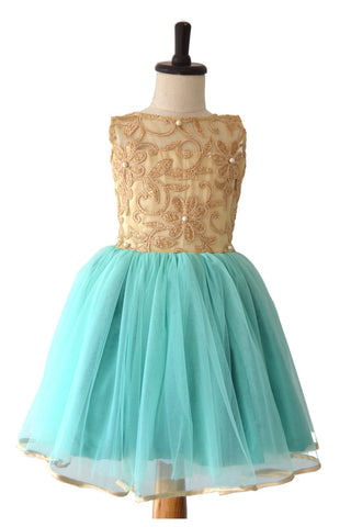 Gold Self Embroidered Yoke & Aqua Blue Partywear Dress