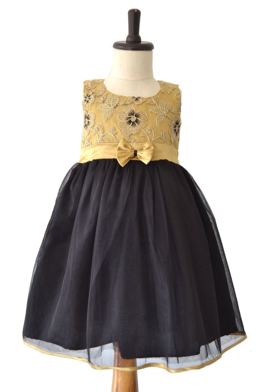 Black Net Frock with Golden Designer Yoke