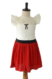Red Crush Frock with Off-white Lace Yoke