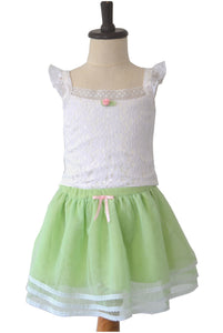 White Top with Mint Green Skirt