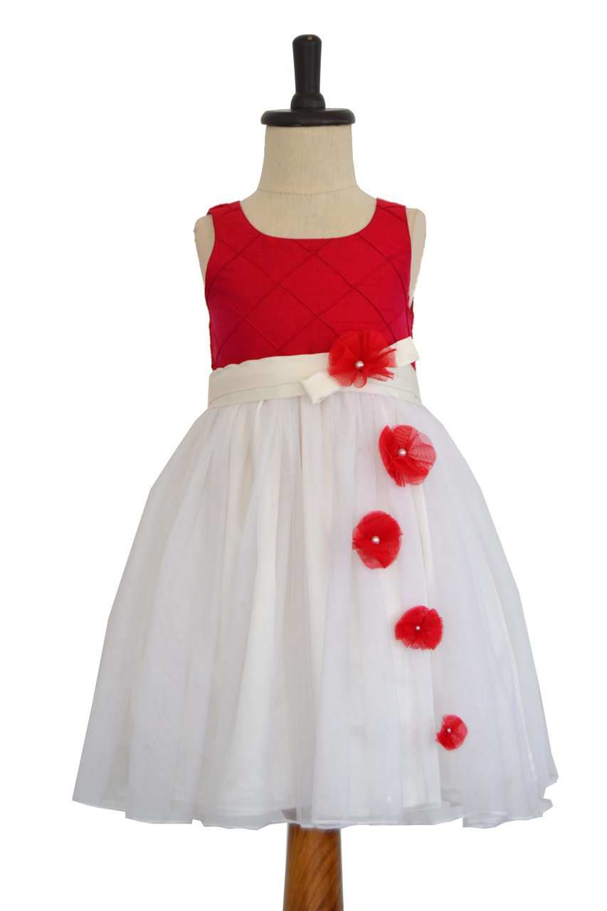 Maganta Rawsilk and Tulle Dress with Cross Pintucks