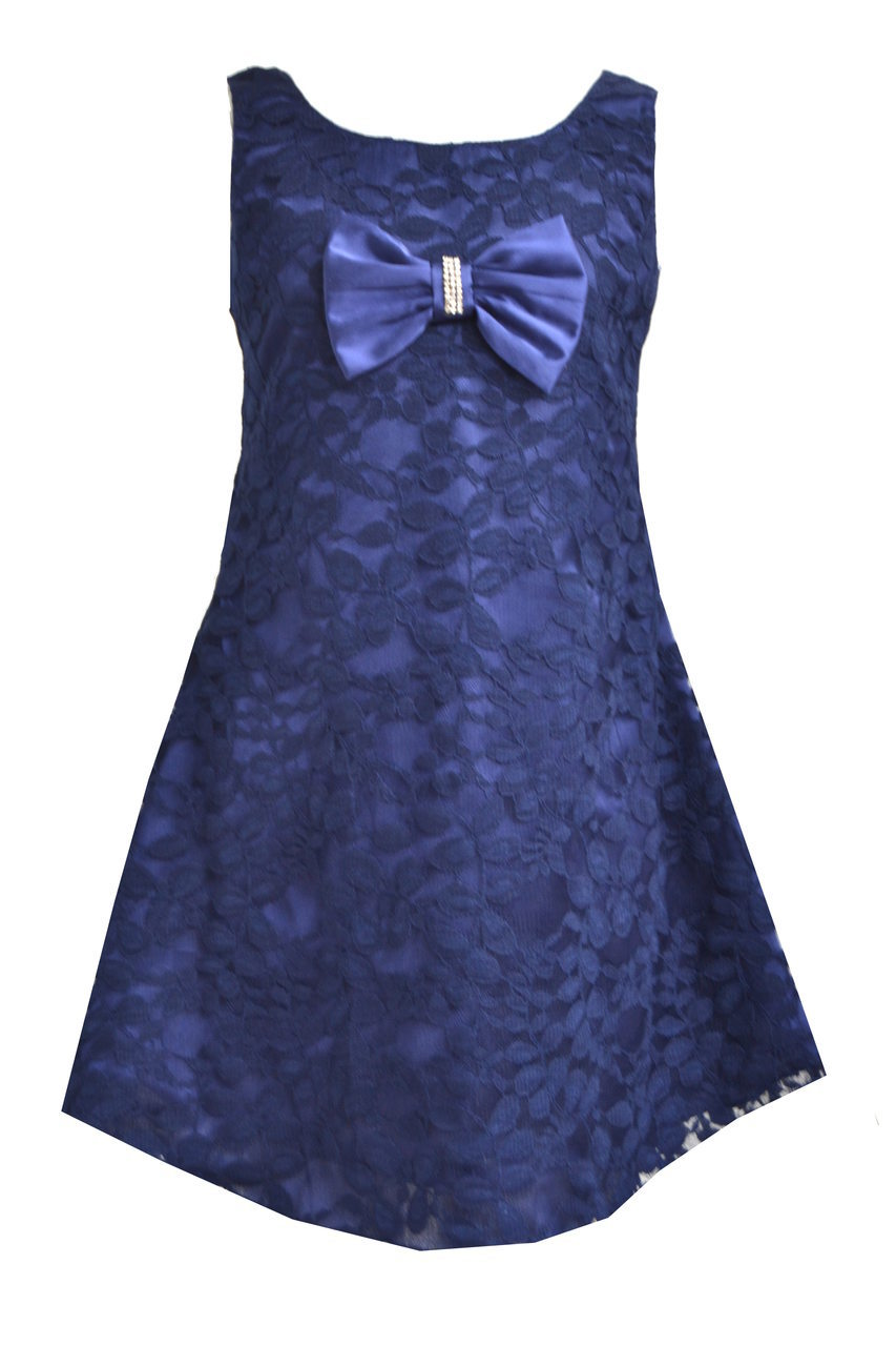 Girls Navy Blue A-Line Lace Frock