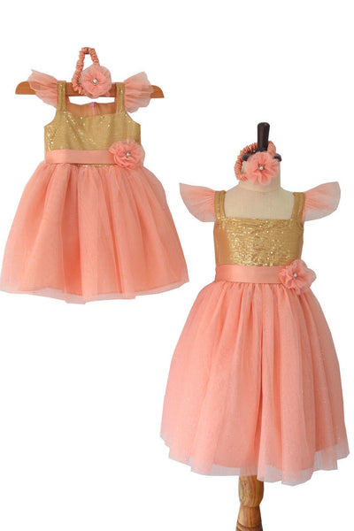 Pinkish Peach Sparkle Tulle and Gold Sequined Dress
