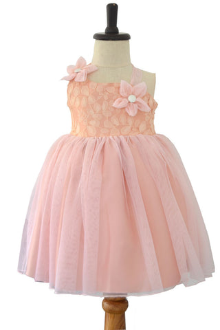 Blush Pink Lace and Tulle Halter neck Special Occasion Dress