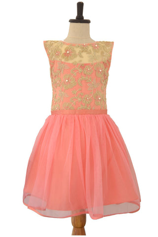 Pink Frock with Golden Thread Embroidered Yoke