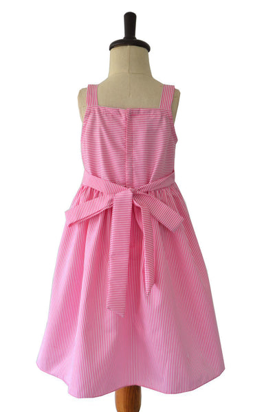Pink Striped Frock With Fruit Applique