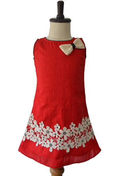 Red A-line RawsilkFrock with Crochio Bow & Flower Lace