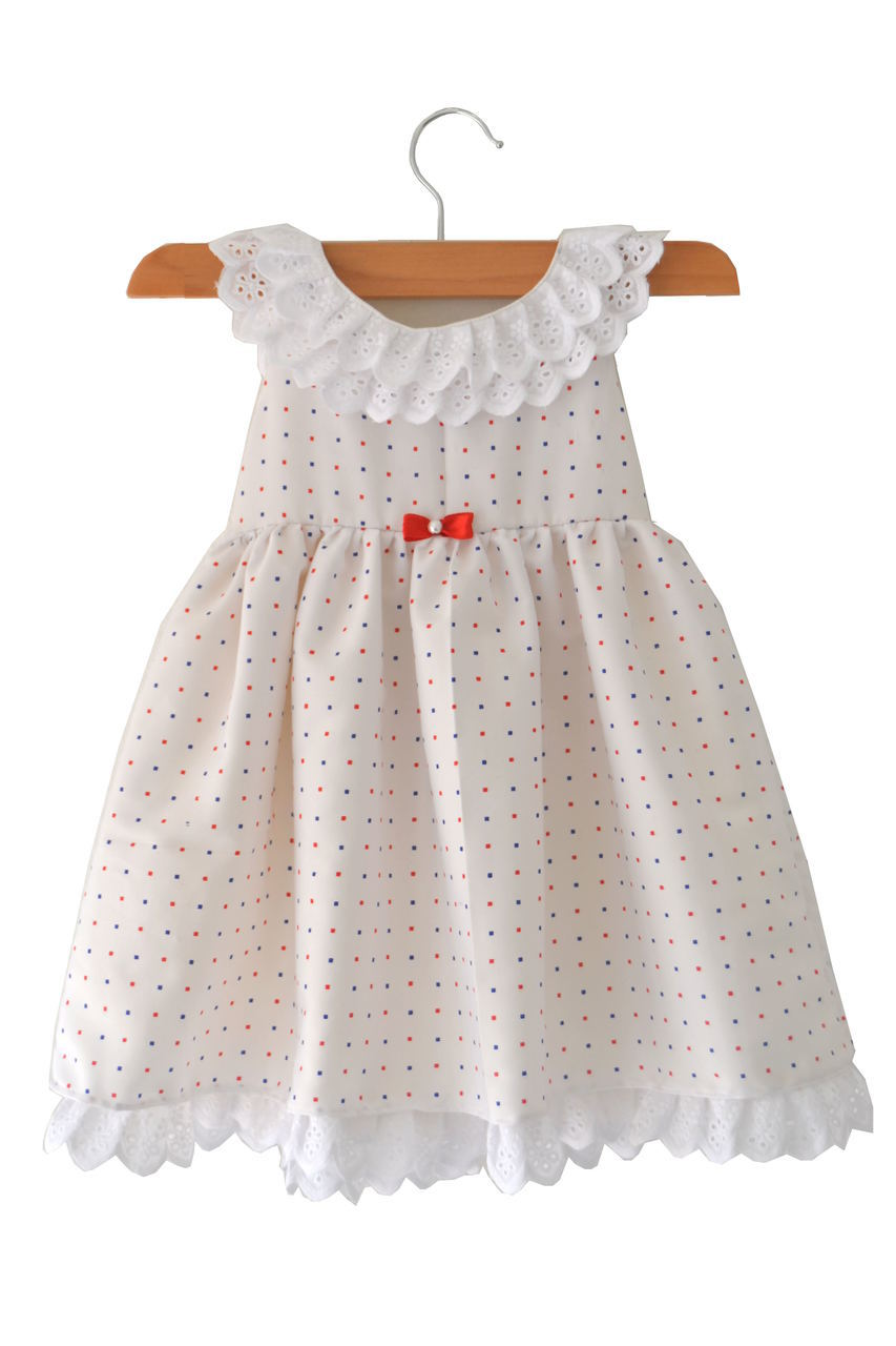 Red & Blue Pin Dot Baby Frock