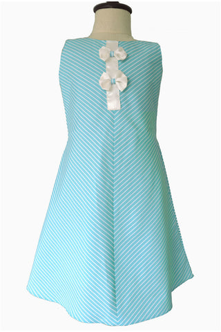 V Striped Turquoise Blue Aline Girls Frock