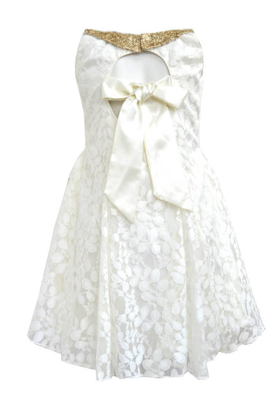 Girls Off-White A line Dress with Antique Gold Collar