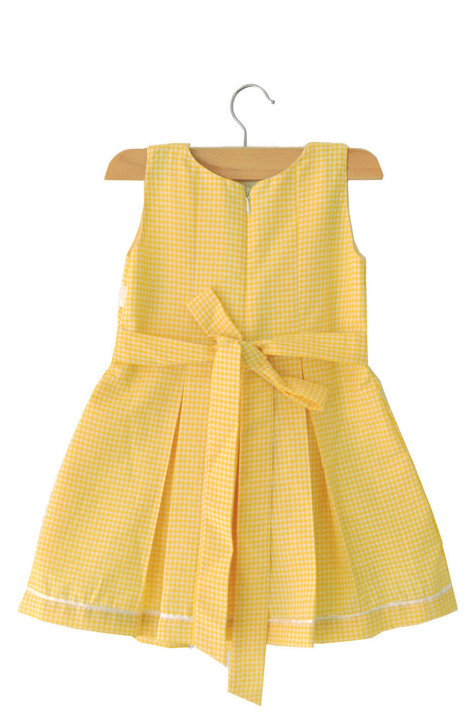 d43bc362b Yellow Check Box Pleated Baby Dress | Lolly Poppiez Baby Dress Store