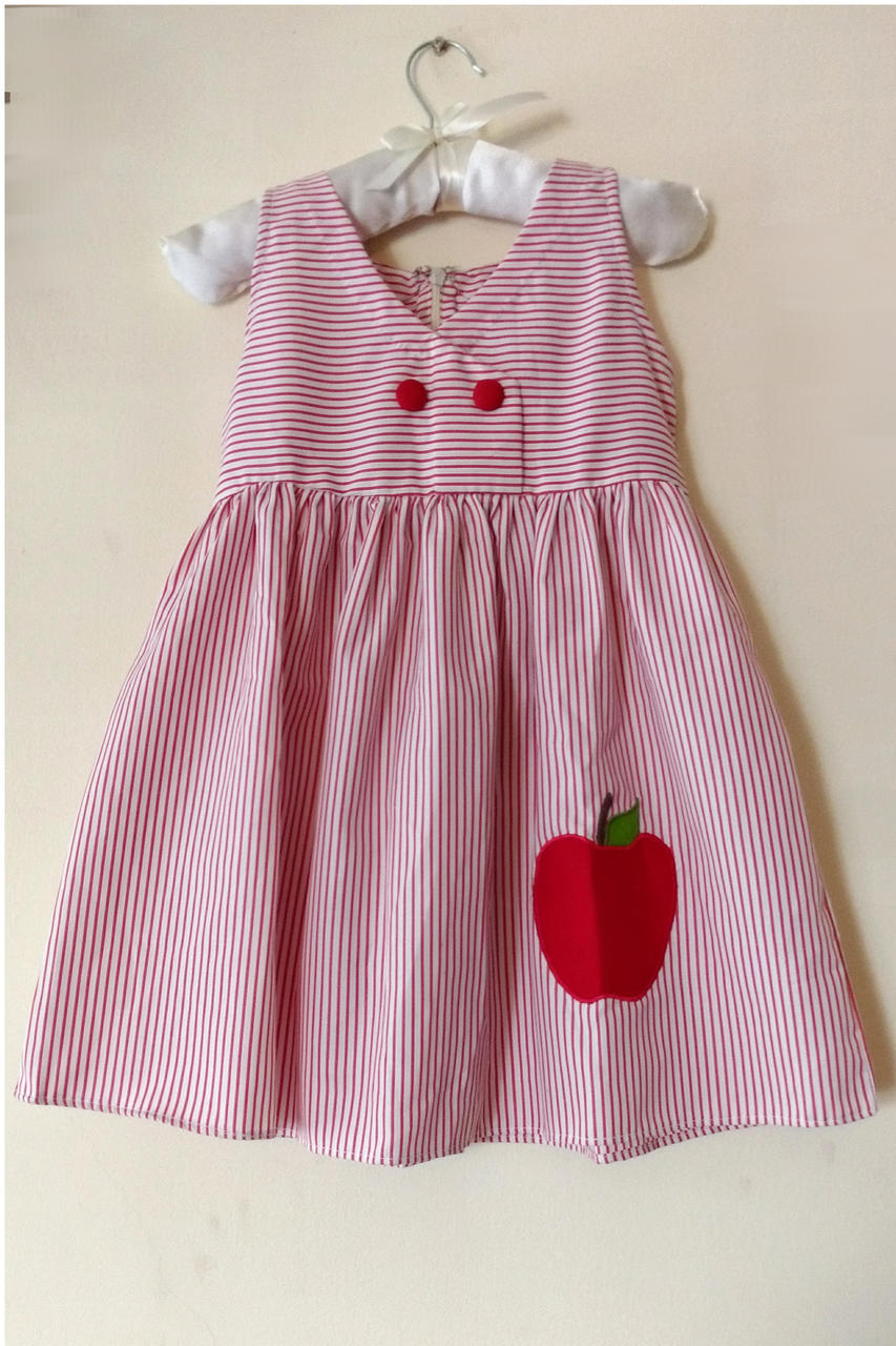 Red Striped Cotton Frock with applique work