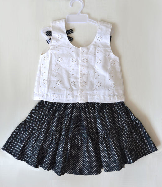 Black Polka Dot Skirt with White Eyelet Hole Top