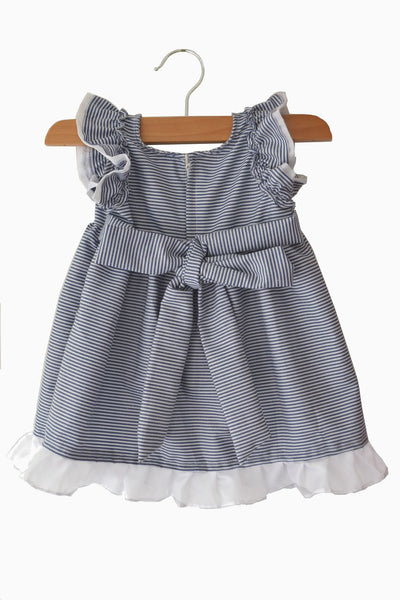DarkBlue and White Striped Baby Frock