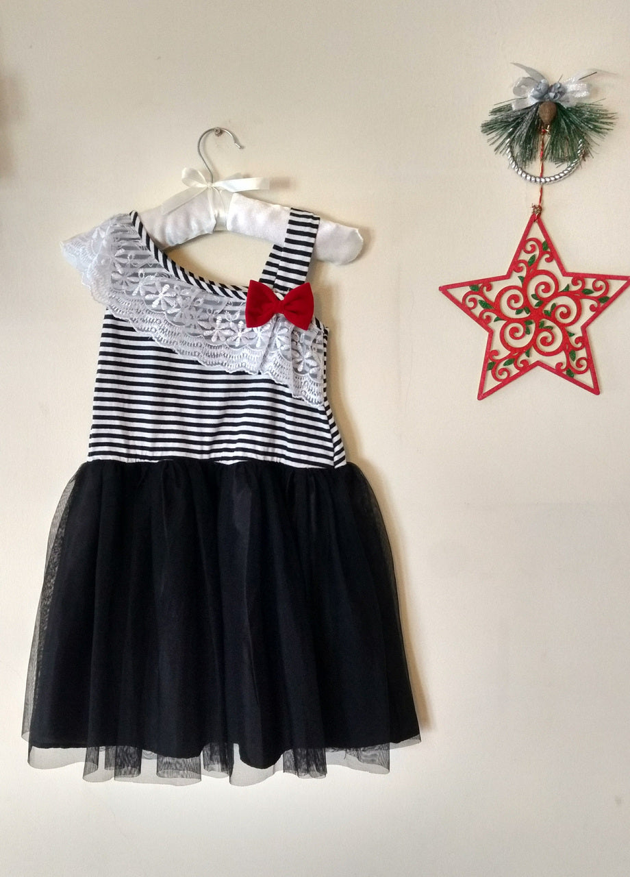 Black White Striped Net Frock With Knitted Yoke