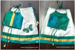 Peacock Blue & Green Girls Panel cut Onam Wear