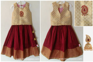 Red & Gold Paisley Onam Wear