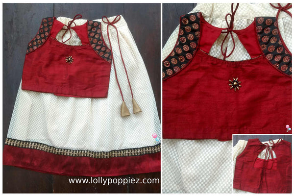 Deep Red Pure Raw Silk Top and Off-White Lacha