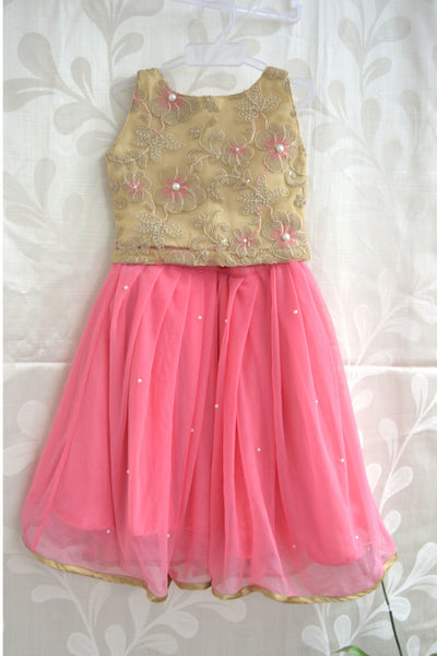 Gold Cream Embroideried Top With Pink Net Long Skirt