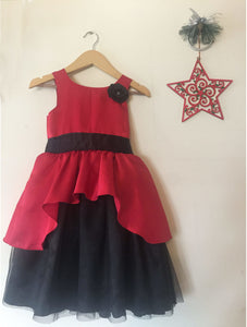 Magenta And Black Satin Frock