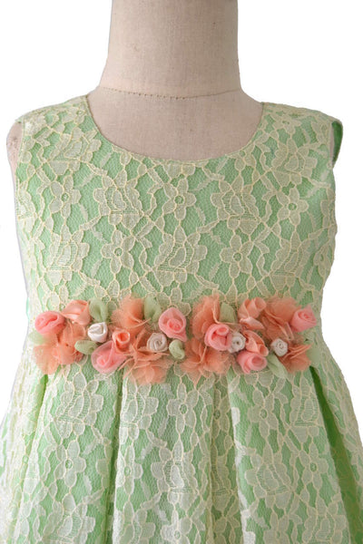 Pista Green Lace Frock with Bloomers