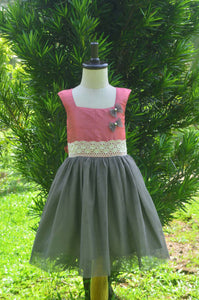 Girls Pink And Grey Rawsilk Net Frock