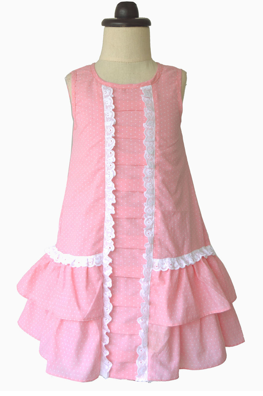 Pink Polka Dotted Pleated Dress