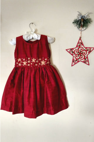 Deep Red Rawcotton Frock with Glittering stars