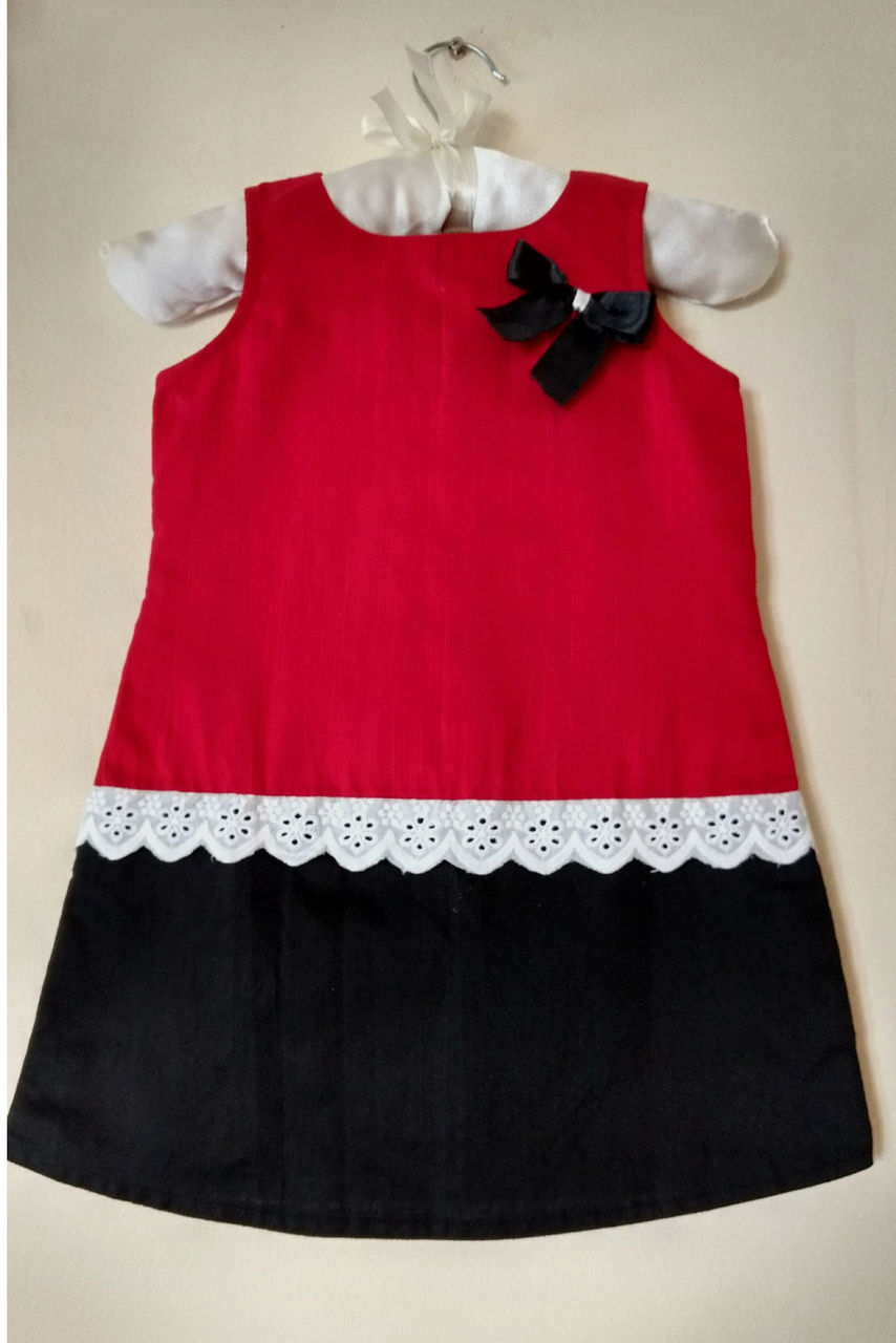 Red and Black Aline Rawcotton Frock