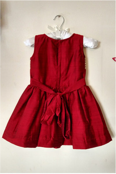 Deep Red Rawcotton Lowwaist Frock with golden lace and red satin roses