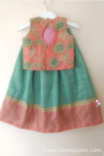 Pinkish Peach Embroideried Top with Aqua Blue Tissue Kotta skirt (LEW00025D)
