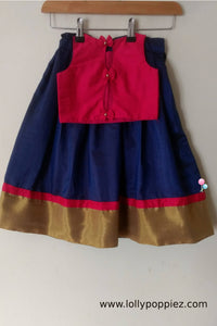 Magenta Rawcotton Top with Navyblue Semisilk Skirt (LEW00016B)