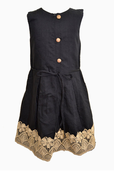 Black Frock With Antique Gold Cutwork Lace and Bead work