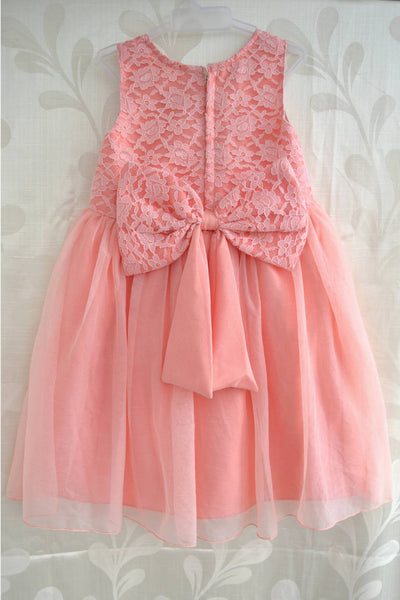 Pinkish Peach Lace Yoke Frock