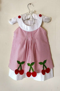 Toddler's Cherry A-line Seersucker Dress