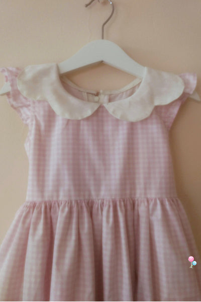 Pink Check Cotton Frock with Butterfly Collar