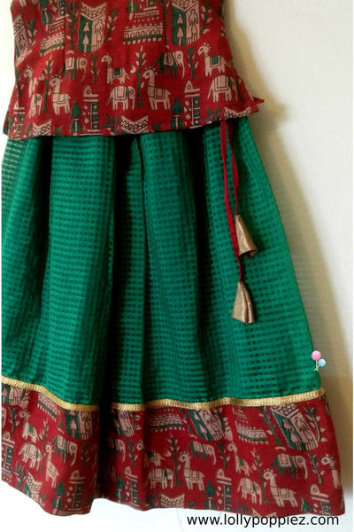 Red Kalamkari top with and green kotta skirt