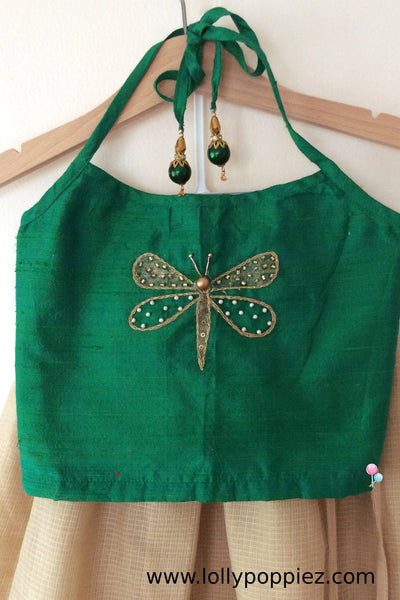Green Rawsilk Halterneck Top with Dragon fly pattern(LEW00027)