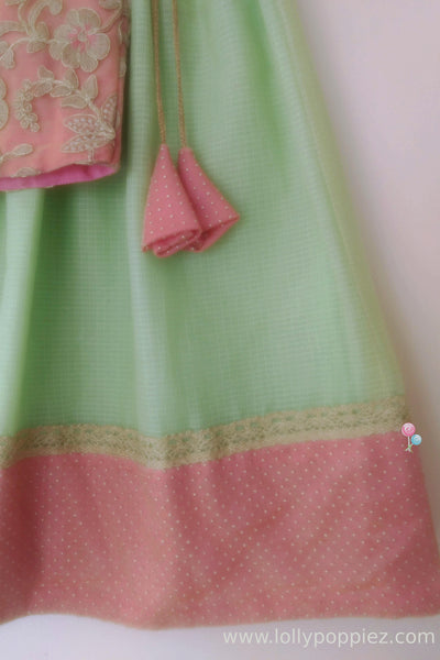 Pinkish Peach Embroideried Top with Mint Green Kotta Skirt(LEW00025C)