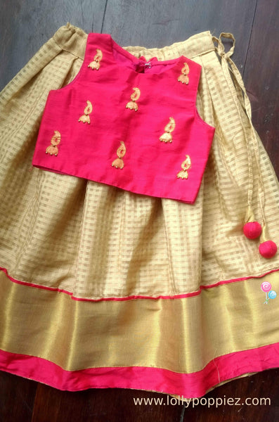 Magenta Hand Painted Top with Beige Skirt (LEW00016A)