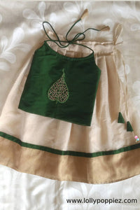 Toddler's Green Top with Leaf Applique work and Tissue kotta skirt