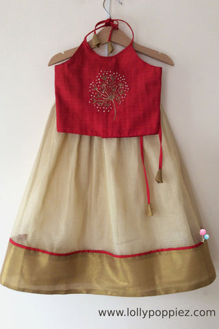 Tomato red semisilk top with golden tissue kotta skirt(LEW00028)