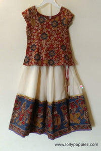 Kalamkari Printed Top and Kotta skirt with big doll printed border