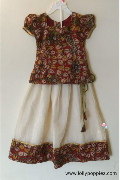 Multi Coloured Kalamkari skirt and top