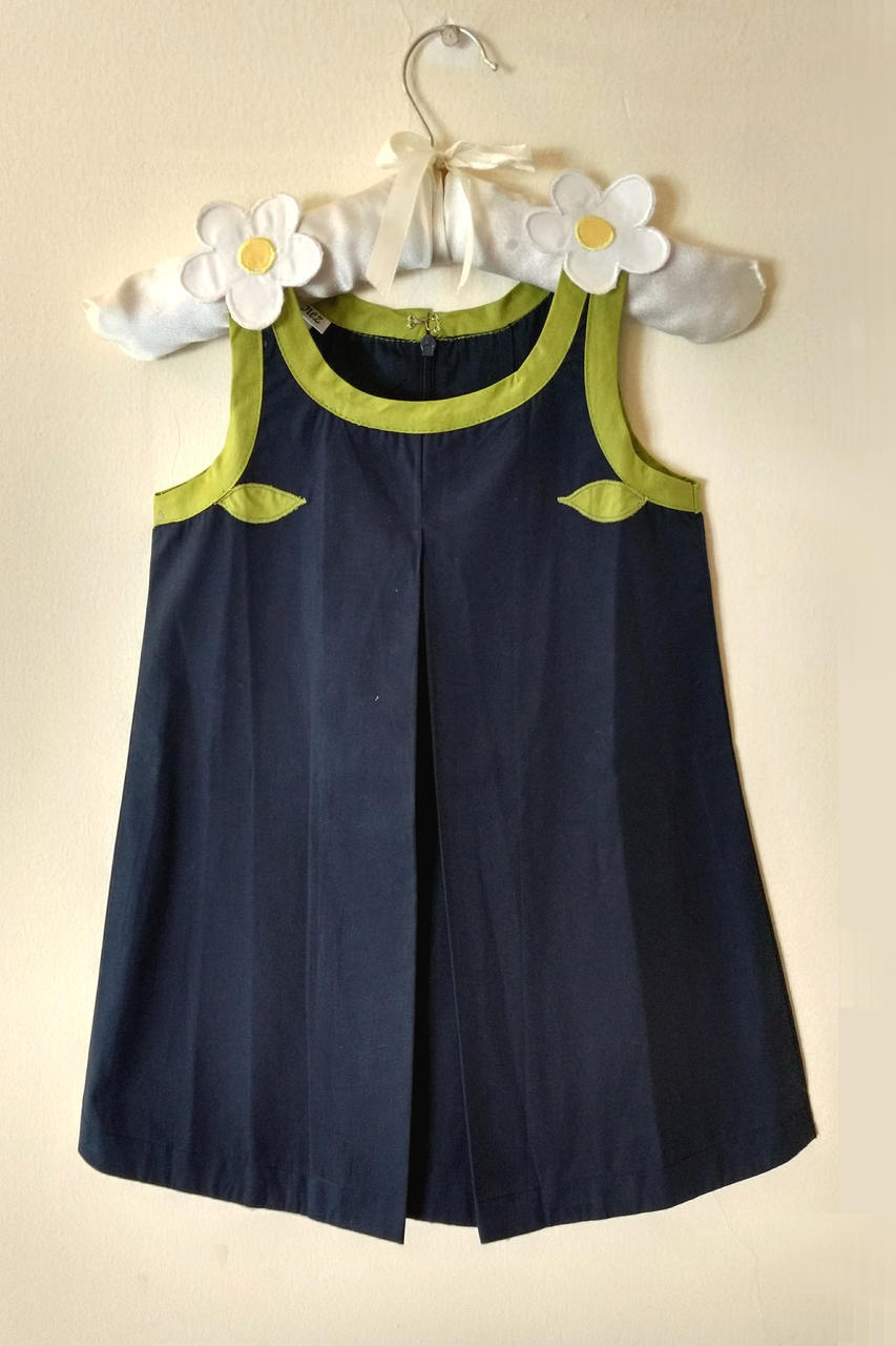 NavyBlue A-Line Dress with Flower Applique Work