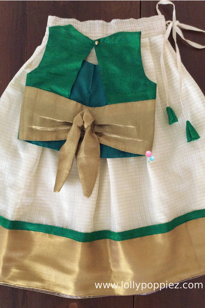 Peacock green rawsilk tie back style top with kotta skirt(LEW00029B)