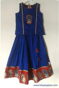 Royal Blue Cotton Silk Skirt and Top with Kalamkari Border