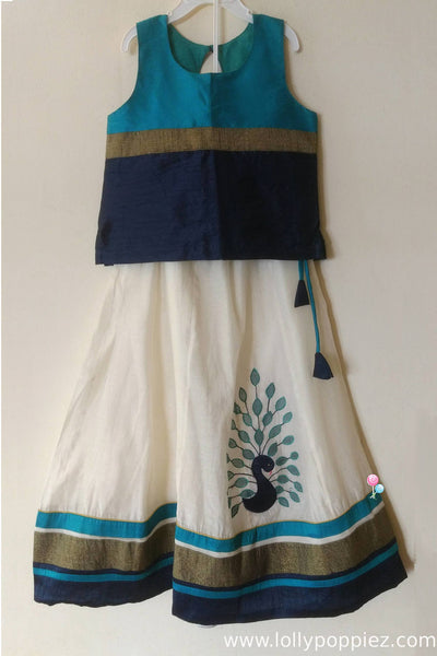 Navy & Peacock Blue Panel cut Onam Wear with Applique work